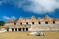 Mexico, Yucatan, Uxmal, Cuarangulo de las Monjas (Nuns Quadrangle), northern building