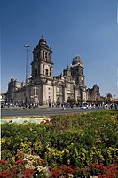 Mexico, Central America, city, Metropolitan Cathedral, South America, February 2008, architecture, flowers, church, hi