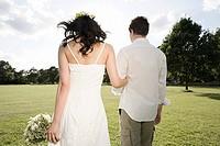 Newlyweds outdoors