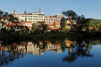 Historic old town of Loket, Eger river, Ohre, west Bohemia, Czech Republic