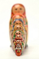 Close_up of Russian dolls in a row