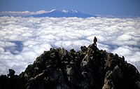 View over cloud cover to Mt.Ngauruhoe, Tongariro Crossing, Tongariro National Park, North Island, New Zealand