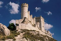 Castillo de Penafiel castle on the hilltop of a rocky ridge against the blue sky, Valladolid province, Castilla_Leon, Northern Spain