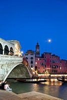 Rialto Bridge at night, Canal Grande, Venice, Veneto, Italy