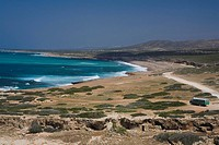 Coastal landscape with bus, coach, Cape Drepano, Akamas Natural Reserve Park, South Cyprus, Cyprus