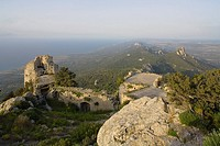 Kantara castle ruins, Kyrenia mountain range, Pentadactylos mountains, North Cyprus, Cyprus