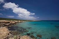 Cape Andreas, Coastal landscape and sea, north easternmost point of the Mediterranean island of Cyprus, Karpass Peninsula, Karpasia, North Cyprus, Cyp...