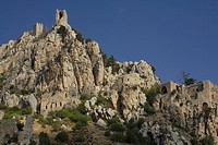 St.Hilarion castle, Kyrenia mountain range, Pentadactylos mountains, North Cyprus, Cyprus