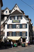 Pavement cafe and Restaurant zum Alten Stoeckli, Barfuesserplatz, Basel, Switzerland