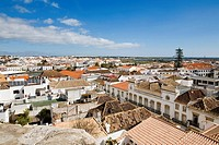 View from the castle, Castelo, over the town of Tavira, Algarve, South Portugal, Portugal