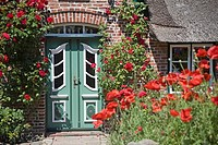 Entrance door of a traditional friesian building, Keitum, Sylt, Germany