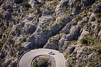 Porsche 911 on Serpentines of Sa Calobra Mountain Road, Rally Classico Isla Mallorca, near Cala de Sa Calobra, Mallorca, Balearic Islands, Spain