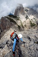 Via ferrata Passo Santner, Catinaccio group, Dolomites, South Tyrol, Italy