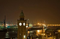 St. Pauli Landungsbrucken and harbor at night, Hamburg, Germany