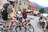 A group of cyclists in Woesendorf in the Wachau, Austria