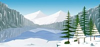 mountain, tree, forest, winter, snow, background
