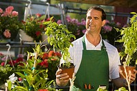 Man working in garden center