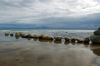 Row of Boulders on rock beach on Notawasaga Bay