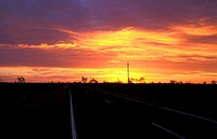 Sunset over a highway