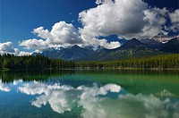 Bow Range Mountains reflected in Herbert Lake