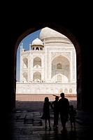 Agra, India, Part of Taj Mahal through archway