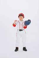 Smiling baseball player with baseball gloves