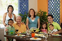 Family enjoying healthy lunch