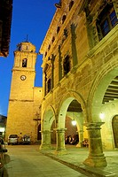 Church and Town Hall, Arnes. Terra Alta, Tarragona province, Catalonia, Spain