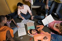 High angle view of university students studying together