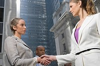 Low angle view of two businesswomen shaking hands