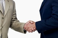 Mid section view of two businessmen shaking hands