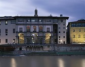 Vasari Facade of the Uffizi Gallery, Florence, Tuscany. Exterior at dusk