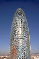 Torre Agbar, Barcelona, Catalonia, 2005. Exterior. Architect: Jean Nouvel in collaboration with b720 Arquitectura, Garcia_Ventosa Arquitectura, and Le...