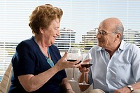 Senior couple drinking wine (thumbnail)