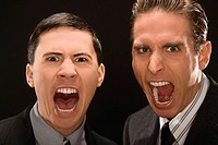 Portrait of two businessmen shouting (thumbnail)