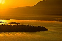 Panoramic view of a lake at dusk, Janitzio Island, Lake Patzcuaro, Morelia, Michoacan State, Mexico