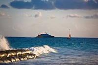 Cruise ship in the sea, Playa Del Carmen, Quintana Roo, Mexico (thumbnail)