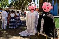 Puppets and dancers at a wedding ceremony, Oaxaca, Oaxaca State, Mexico (thumbnail)