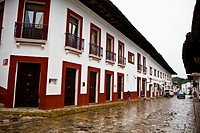 Buildings in a street, Cuetzalan, Puebla State, Mexico