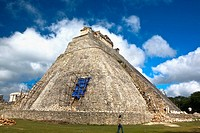 Workers restoring a pyramid, Pyramid of the Magician, Uxmal, Yucatan (thumbnail)