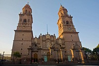 Low angle view of a cathedral, Morelia Cathedral, Morelia, Michoacan State, Mexico (thumbnail)