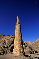 The 65 metre tall Minaret of Jam, built by Sultan Ghiyat Ud_Din Muhammad ben San, in around 1190, with Kufic script and verses of the Koran on the ext...