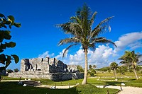 Old ruins of a palace in a grassy field, Zona Arqueologica De Tulum, Cancun, Quintana Roo, Mexico