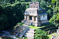 High angle view of tourists at old ruins of a temple, Templo Del Sol, Palenque, Chiapas, Mexico