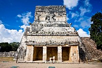 Old ruins of a temple, Temple of the Jaguars, Chichen Itza, Yucatan, Mexico