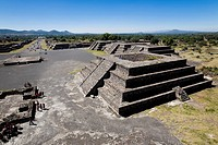 High angle view of pyramids, Piramide De La Luna, Street of the Dead, Teotihuacan, Mexico