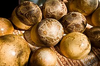 Close_up of decorated ostrich eggshells, Los Arquitos De Xochimilco, Oaxaca, Oaxaca State, Mexico