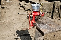 High angle view of a meat grinder, Hidalgo, Papantla, Veracruz, Mexico
