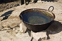 High angle view of a wok filled with water, Hidalgo, Papantla, Veracruz, Mexico