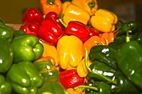 Close_up of various type of bell peppers at a market stall, Zacatecas State, Mexico